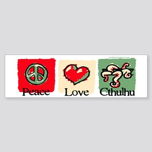 Peace, love, Cthulhu Sticker (Bumper)
