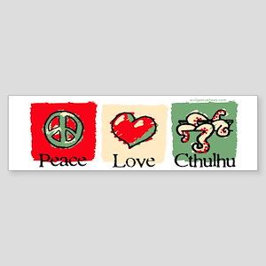 Peace, love, Cthulhu Sticker (Bumper)