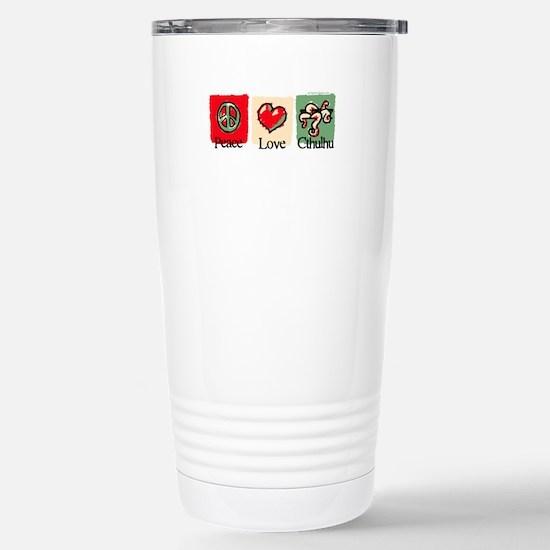 Peace, love, Cthulhu Stainless Steel Travel Mug