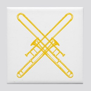 """Brass"" Crossed Trombones Tile Coaster"