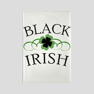 Black Irish with Fancy Shamrock Rectangle Magnet