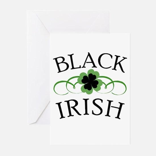 Black Irish with Fancy Shamrock Greeting Cards (Pk