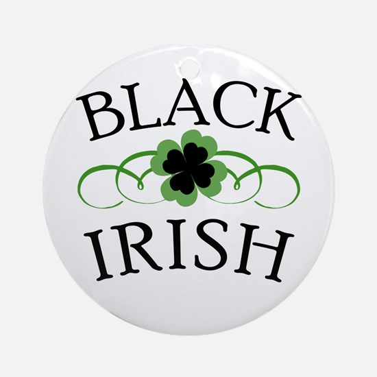 Black Irish with Fancy Shamrock Ornament (Round)