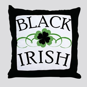 Black Irish with Fancy Shamrock Throw Pillow