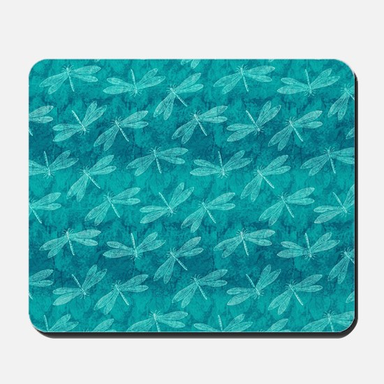 Blue Green Dragonfly Dance Mousepad