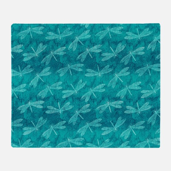Blue Green Dragonfly Dance Throw Blanket
