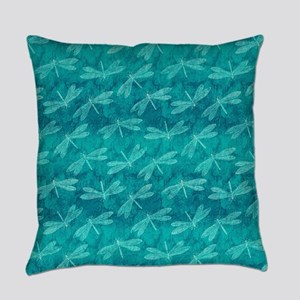 Blue Green Dragonfly Dance Everyday Pillow