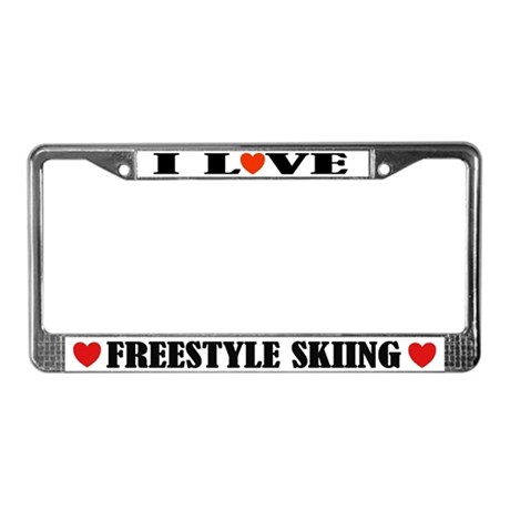 I Love Freestyle Skiing License Plate Frame