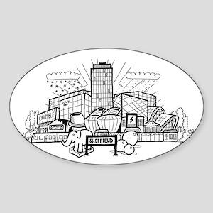Cartoon View of Sheffield Sticker