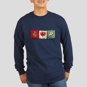 Peace, Love, Cheese Long Sleeve Dark T-Shirt