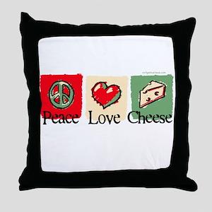 Peace, Love, Cheese Throw Pillow