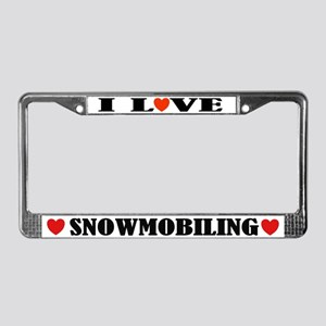 I Love Snowmobiling License Plate Frame
