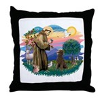 St Francis #2 / Poodle (ST-Ch) Throw Pillow