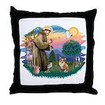 St. Francis #2 / Corgi (Pem) Throw Pillow
