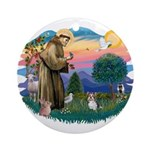 St Francis #2 / Yorkie (Brewer) Ornament (Round)