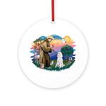 St Francis #2 / Poodle (STD W) Ornament (Round)