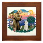 St Francis #2 / Poodle (STD W) Framed Tile