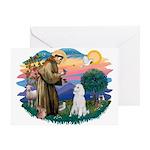 St Francis #2 / Poodle (STD W) Greeting Card
