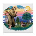 St Francis #2 / Yorkshire Terrier #9 Tile Coaster