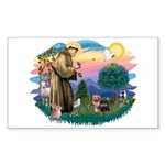 St Francis #2 / Yorkshire Terrier #9 Sticker (Rect