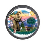 St Francis #2 / Yorkshire Terrier #9 Wall Clock