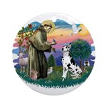 St Francis #2 / Great Dane (H) Ornament (Round)
