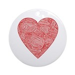 Red Scribble Ornament (Round)