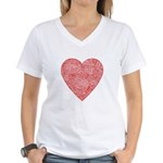 Red Scribble Women's V-Neck T-Shirt