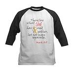 Mark 10:9 What God has joined Kids Baseball Jersey