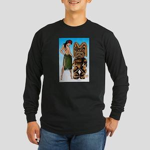 Wahine and Tiki Long Sleeve Dark T-Shirt