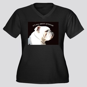 Bulldog Women's Plus Size V-Neck Dark T-Shirt