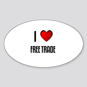 I LOVE FREE TRADE Oval Sticker