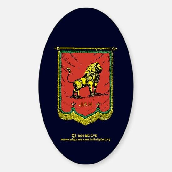 Reggae Jah Lion Banner Sticker (Oval)