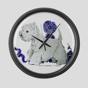 Blue Ribbon Westie Large Wall Clock