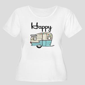 Happy Camper Women's Plus Size Dark V-Neck T-Shirt