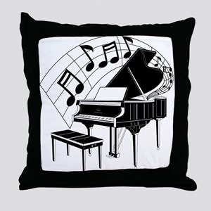 Grand Piano Notes Throw Pillow