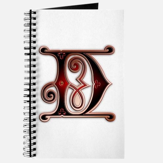 Journal monogram D dark gingerbread style