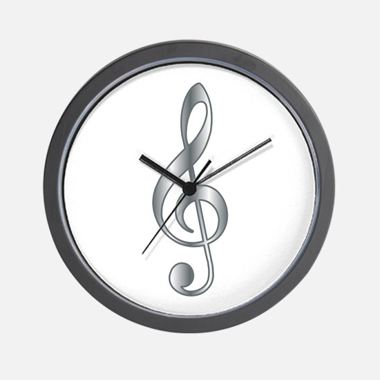 """Silver"" Treble Clef Wall Clock"
