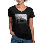 Sunset District Women's V-Neck Dark T-Shirt