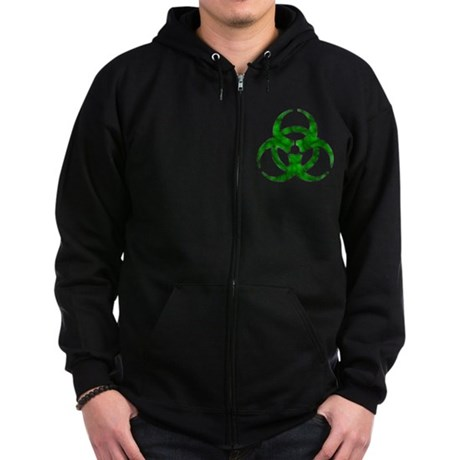 Distressed Green Biohazard Zip Hoodie (dark)