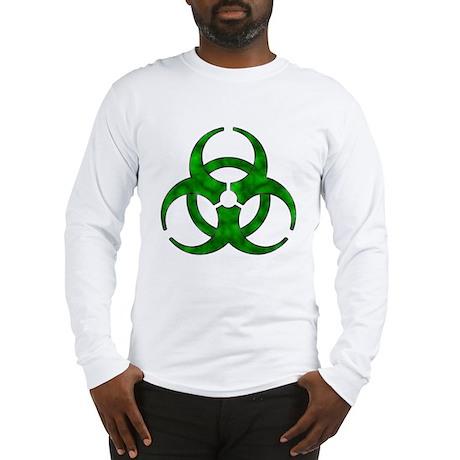 Distressed Green Biohazard Long Sleeve T-Shirt