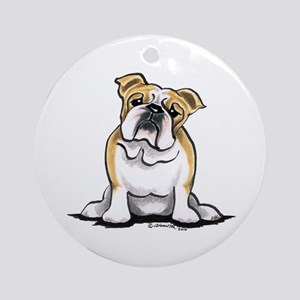 Cute English Bulldog Ornament (Round)