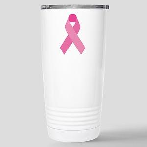 Single Pink Ribbon Stainless Steel Travel Mug