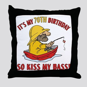 Fishing Gag Gift For 70th Birthday Throw Pillow