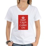 Keep Calm and Carry On Women's V-Neck T-Shirt