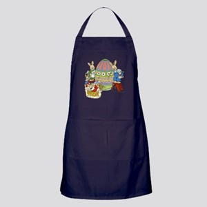 Bunny Family Painting Eggs Apron (dark)