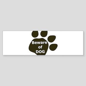 Beware of Dog paw Bumper Sticker