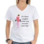 Do these weights (Brunette) Women's V-Neck T-Shirt