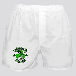 Bottoms Up Bitches Leprechaun Boxer Shorts