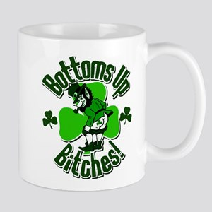 Bottoms Up Bitches Leprechaun Mug